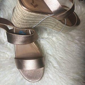 Metallic Rose Gold Espadrille Sandals